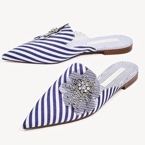 NWT Zara Blue and White Bejeweled Striped Mules